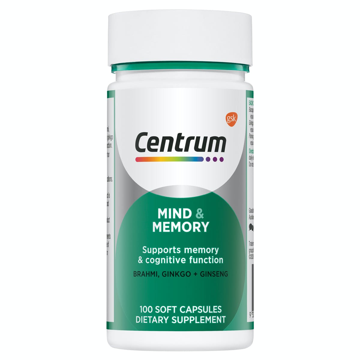 Bottle of Mind & Memory from the Centrum Benefits Blend (50 capsules).