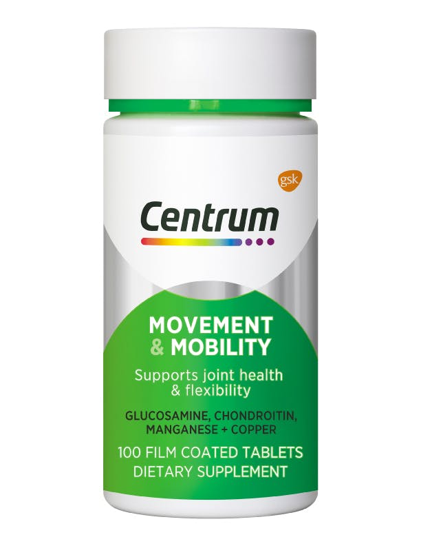 Bottle of Movement & Mobility from the Centrum Benefits Blend (50 tablets).