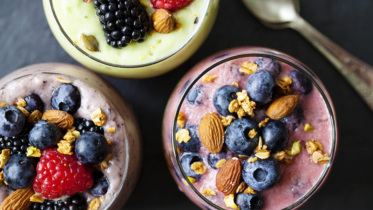 variety of fruit smoothies
