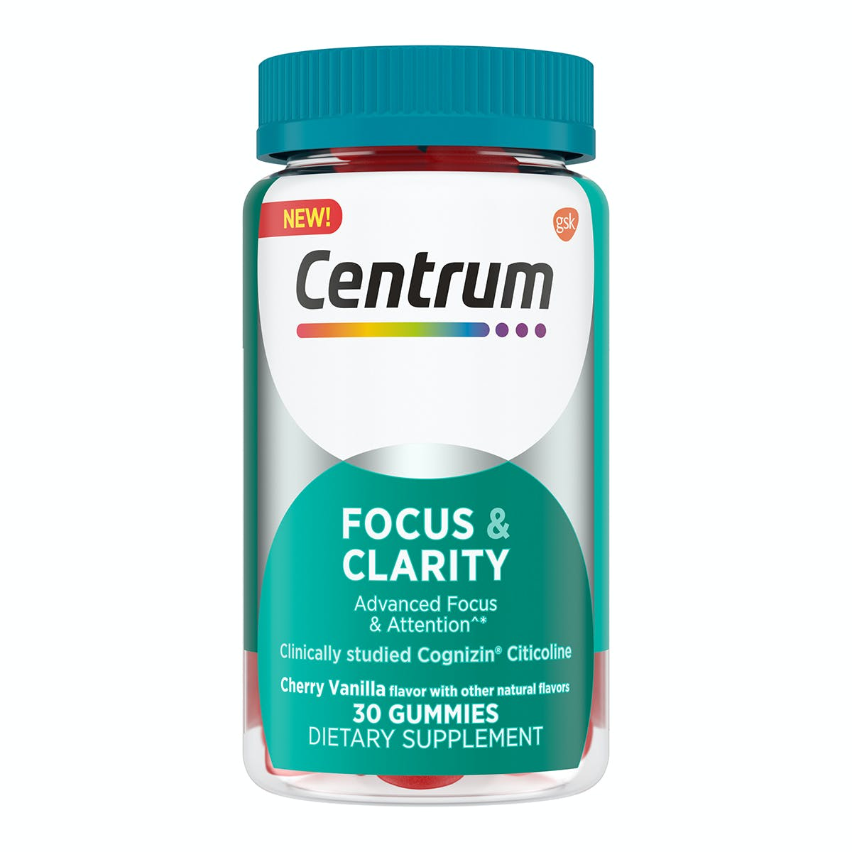Bottle of Centrum Adult Gummy Focus & Clarity Supplements