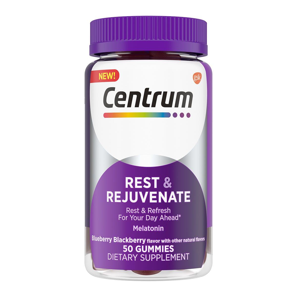 Bottle of Centrum Adult Gummy Rest & Rejuvenate Supplements