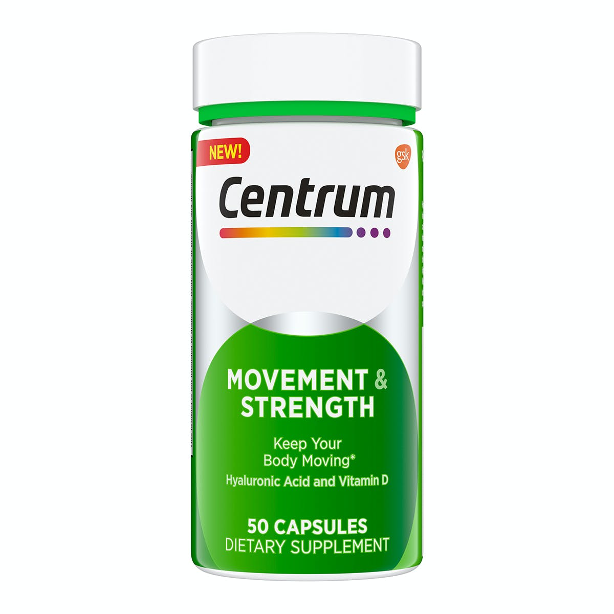 Bottle of CentrumAdult Movement & Strength Capsule Supplements]