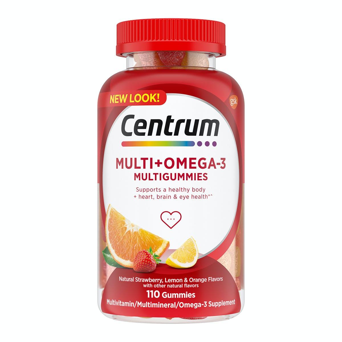 Bottle of Centrum MultiGummies Multi plus Omega 3 multivitamins