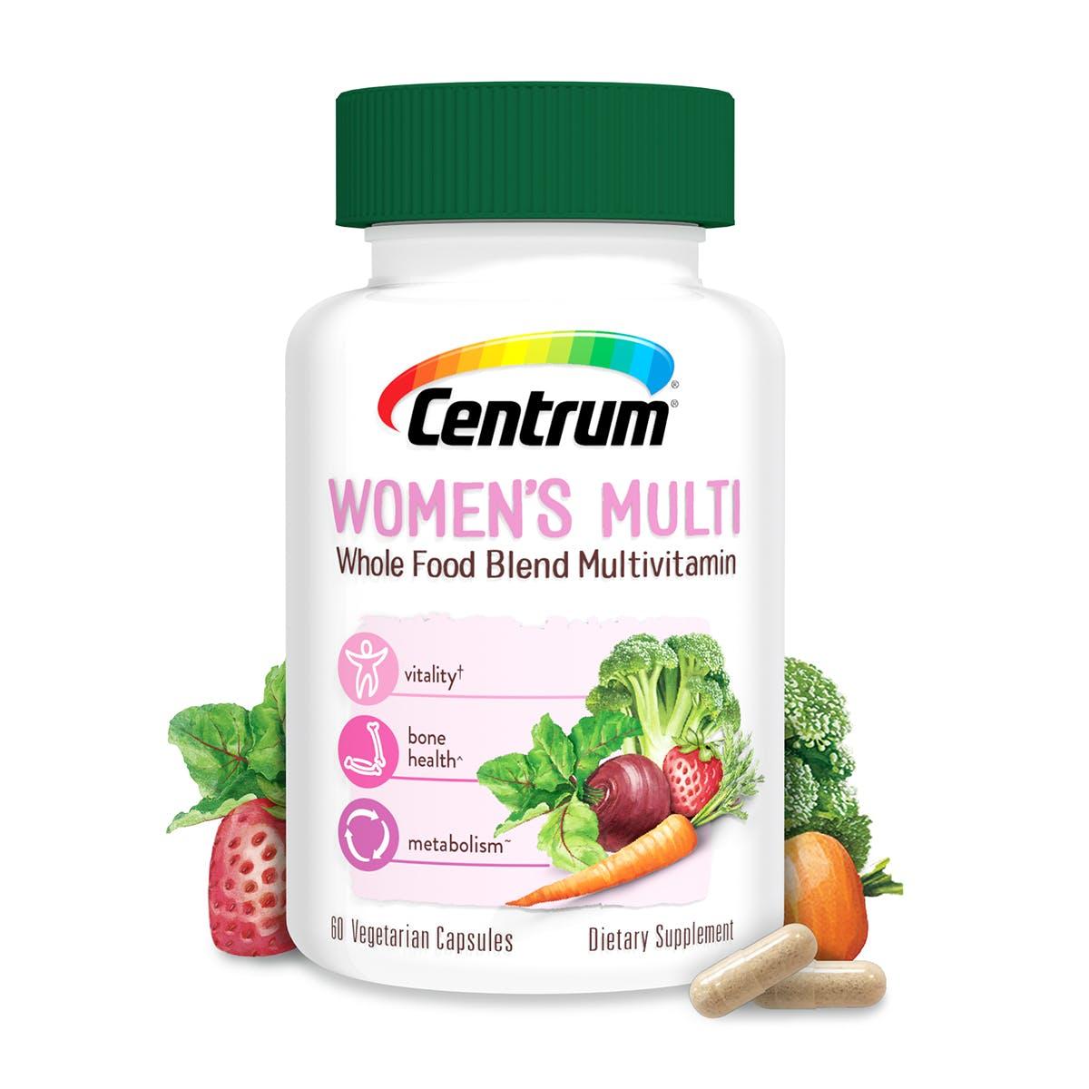 Bottle of Centrum Women's Whole Food Blend Multivitamin