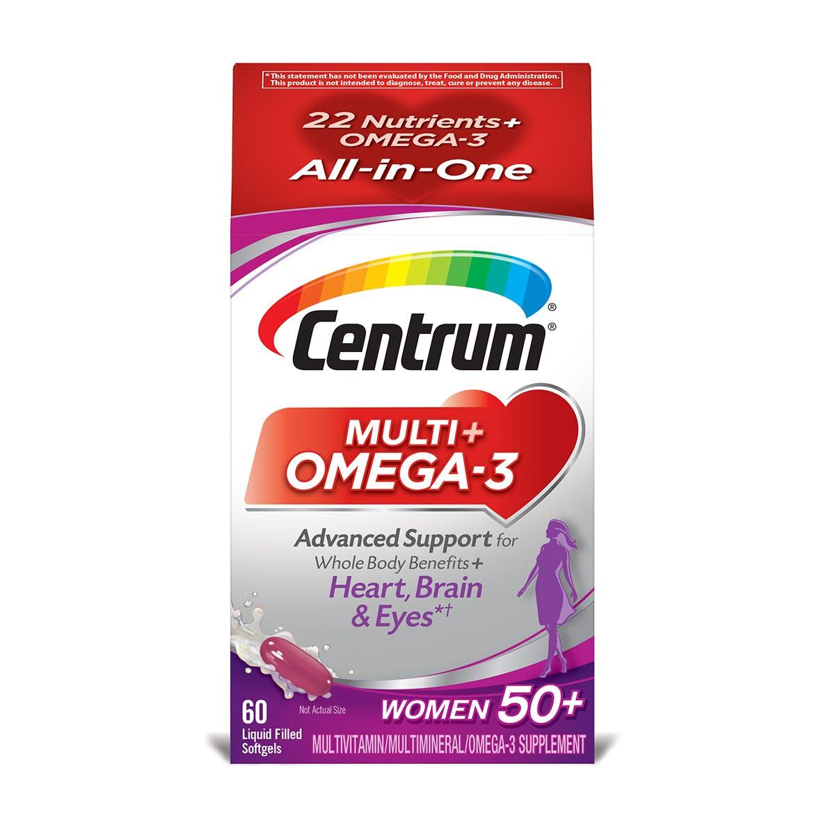 Box of Centrum Multi plus Omega 3 Women 50plus multivitamins