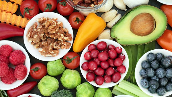 Variety of colorful fruits and vegetables