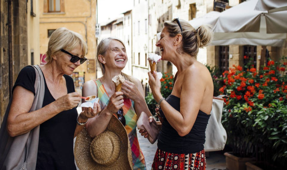 woman laughing with friends