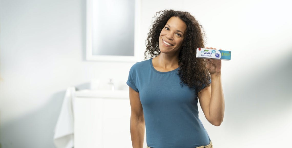A women holding a box of ProPartial