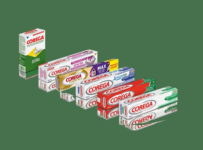 Gama de Adhesivos de Corega Denture Adhesives
