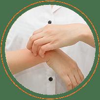 Ikona - maleinian dimetindenu łagodzi swędzenie i podrażnienie skóry.