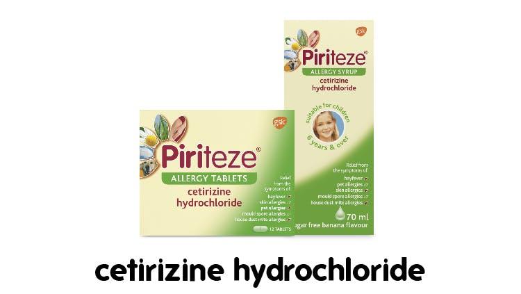 Piriteze liquid and tablet packs