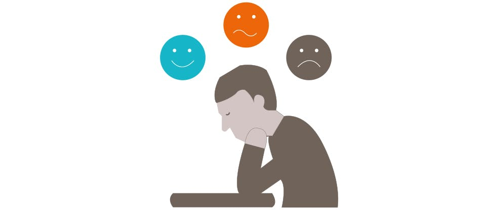 Graphic of a person with altering mood