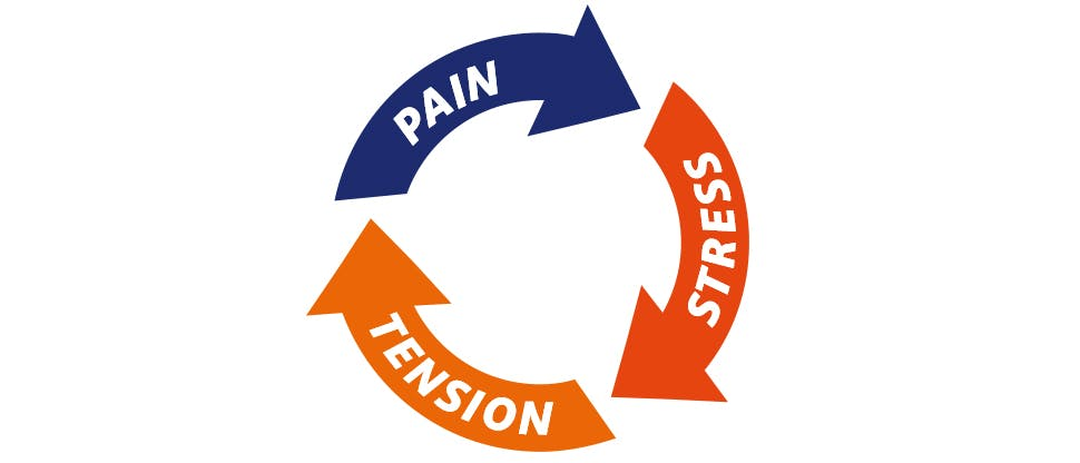 Graphic depicting the cycle of pain, tension and stress that occurs with back pain