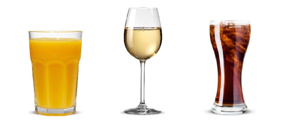 Orange juice, wine, cola