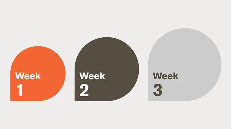 Three arrows signifying weeks
