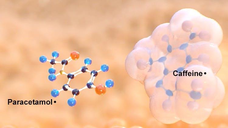Molecular structure of paracetamol + caffeine