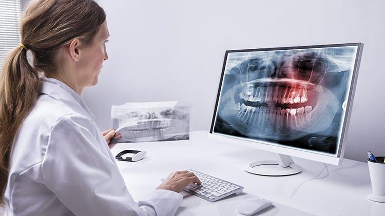 Dentist at desk