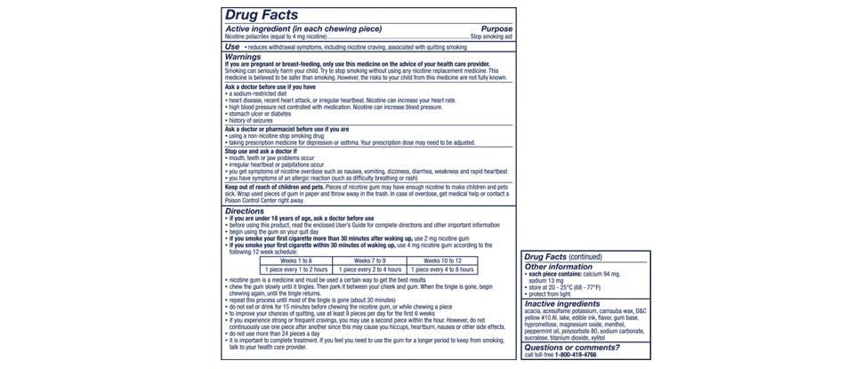 Nicorette Gum Drug Facts