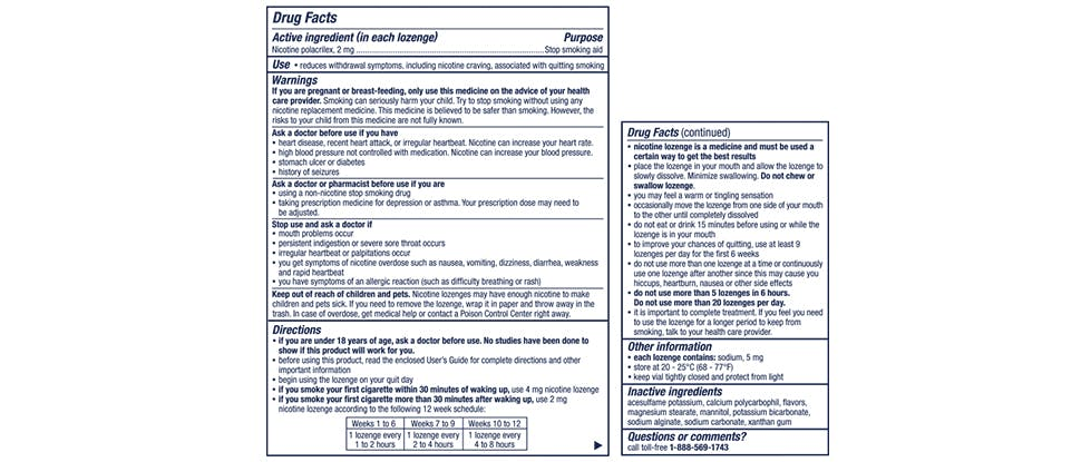 Nicorette mini Lozenge Drug Facts