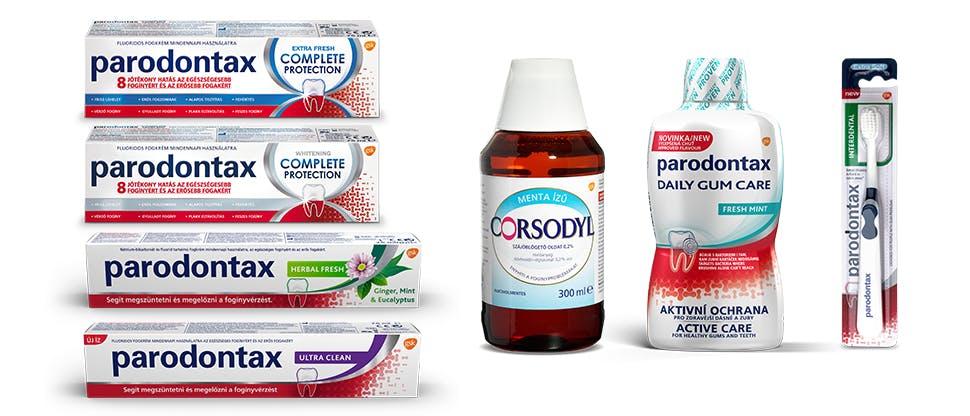 parodontax termékek és Corsodyl szájöblögető oldat 0,2%