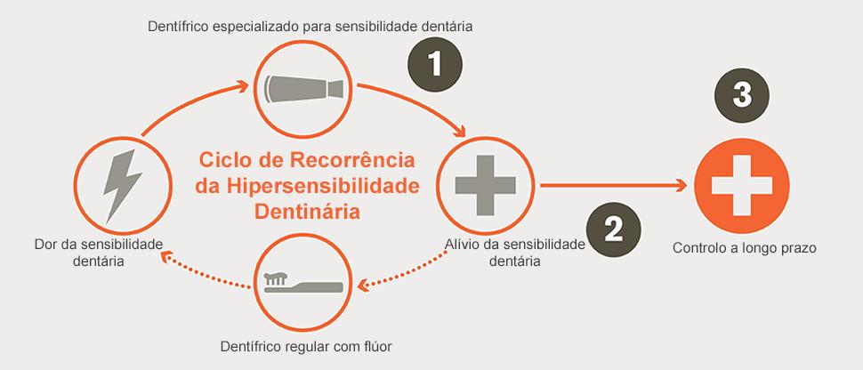Ciclo de recorrência da hipersensibilidade dentinária e  objetivos de controlo