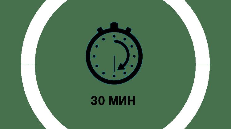 изображение часов, показывающих 30 минут