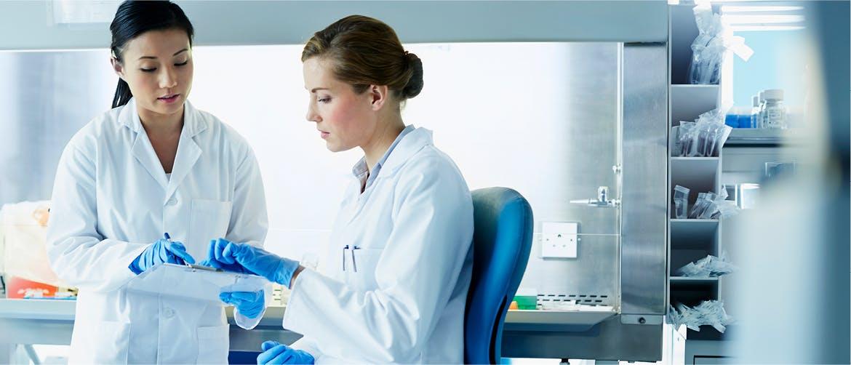 Laboratuvarda iki bilim insanı