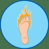 Brennender Fuß rundes Symbol