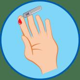 Hand mit Blutzuckermessgerät rundes Symbol