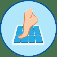 Nackter Fuß auf Badematte Symbol