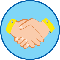 Рукопожатие круглый значок