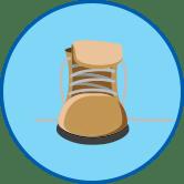 Рабочий ботинок круглый значок