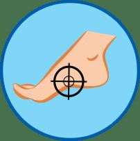 Босая стопа с мишенью круглый значок
