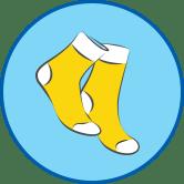 Желтые носки круглый значок