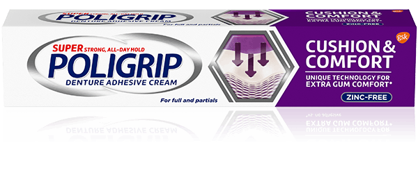 Super Poligrip cushion and comfort denture adhesive cream pack shot
