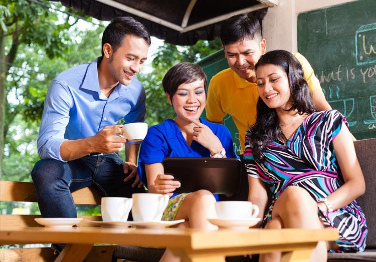 Group of friends in café