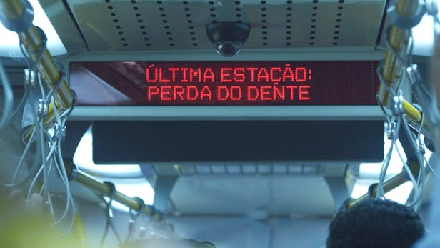 Sign inside a train that says Final destination: tooth loss