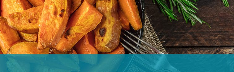 Healthy Diet with Baked Sweet Potatoes