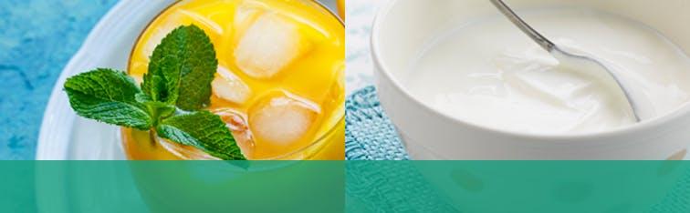 Un verre de jus d'orange acide et un bol de yogourt.