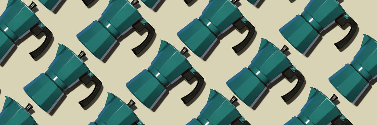 Turqoise stovetop coffee percolators in a repeating pattern