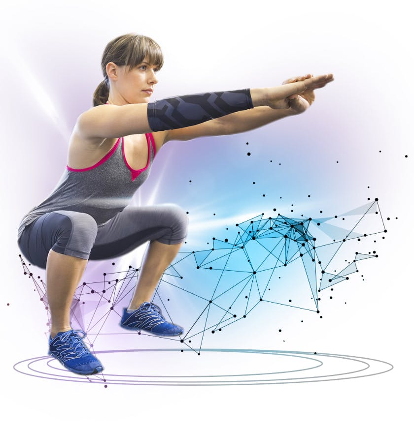 Woman exercising in squatting position