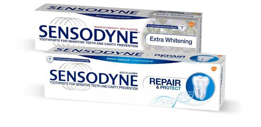 Sensodyne Extra Whitening and Sensodyne Repair toothpaste products