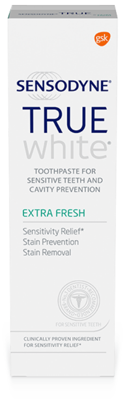 Packshot photography of Sensodyne True White Extra Fresh