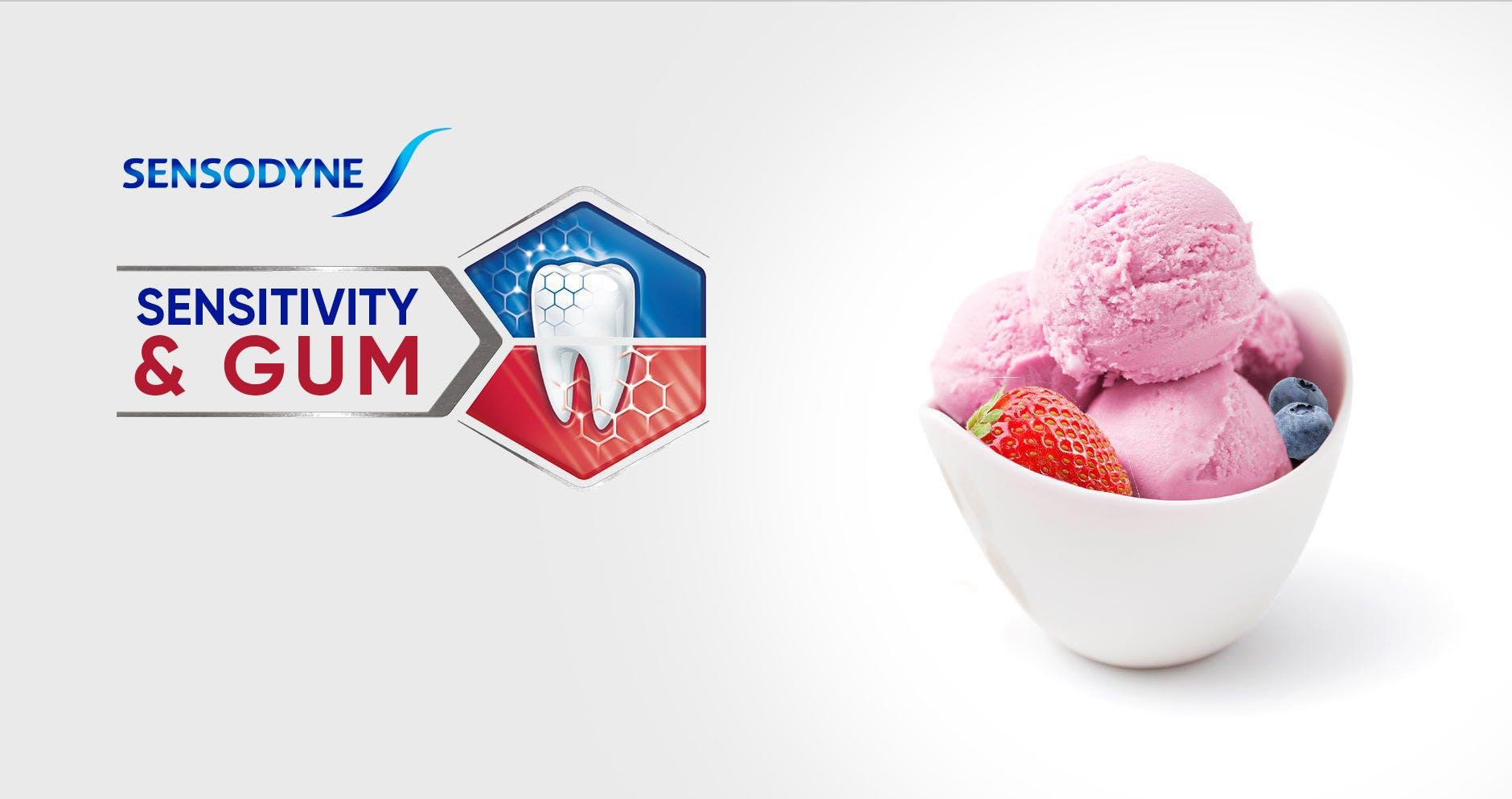 Bowl of ice cream and berries with Sensodyne Sensitivity & Gum logo
