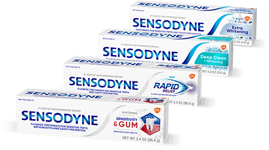 Variety of Sensodyne Toothpaste products for tooth sensitivity