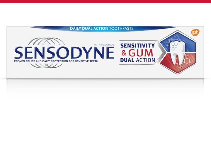 Sensodyne sensitivity and gumtoothpaste box