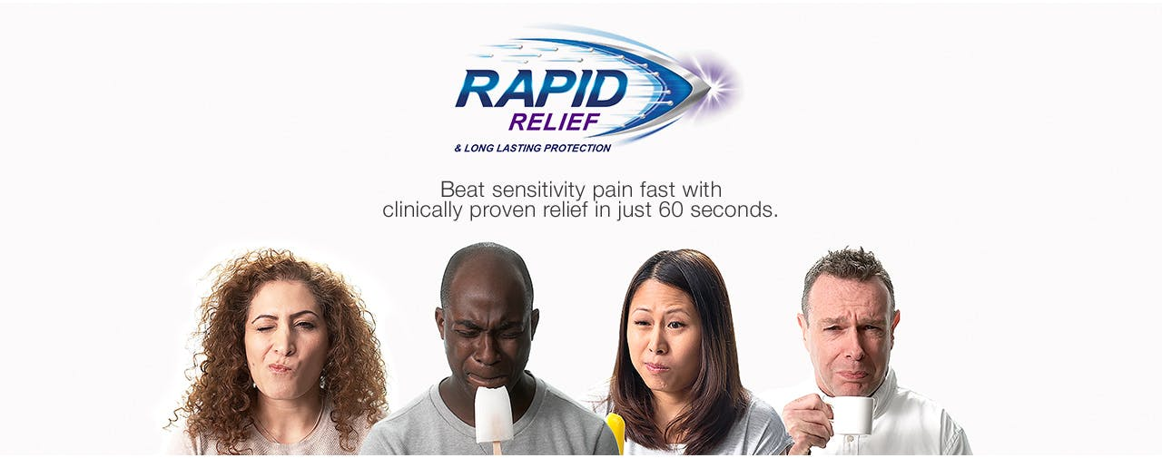 Promotional image showing various people with sensitivity pain