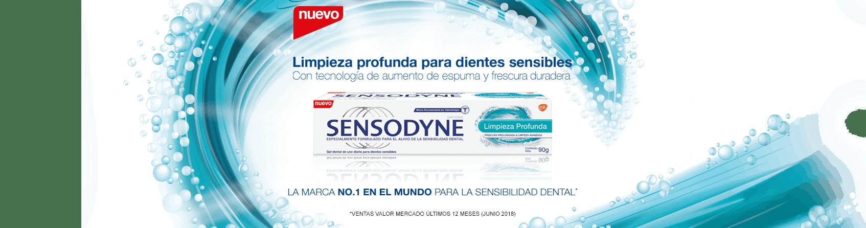 Limpieza profunda para dientes sensibles. Con la tecnología de aumento de espuma y frescura - Crema dental Sensodyne  Limpieza Profunda