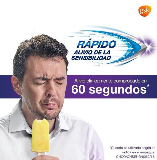 Hombre con cara de molestia por la sensibilidad dental causada al comer un helado - Sensodyne Colombia - Rapido Alivio a la sensibilidad dental