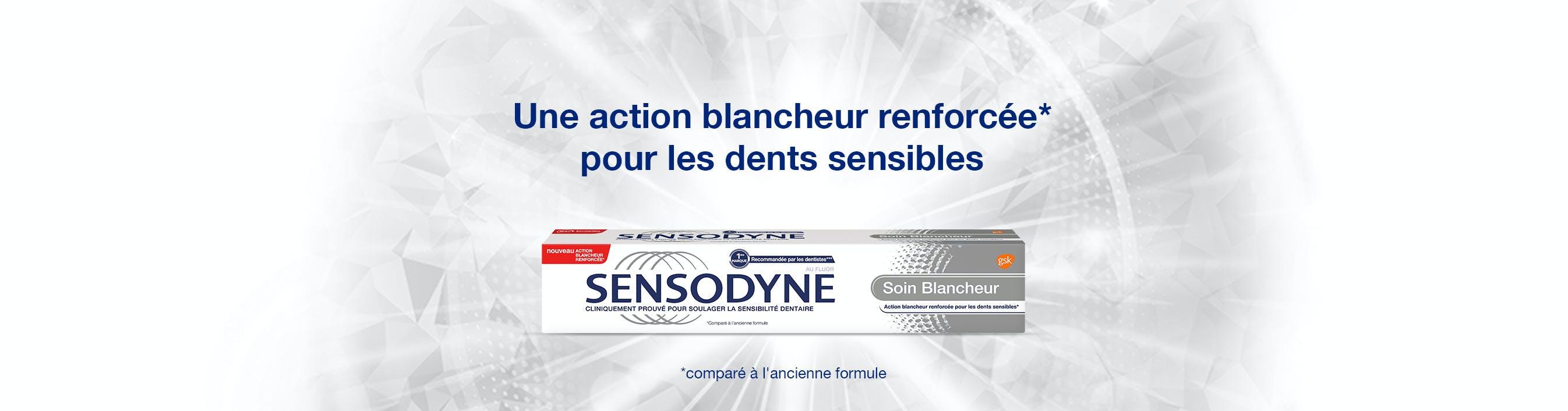 Le dentifrice Sensodyne Soin Blancheur, une formule améliorée spécialement conçue pour aider à restaurer la blancheur naturelle de vos dents